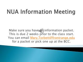 NUA Information Meeting