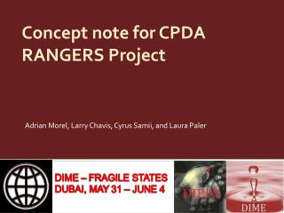 Concept note  for CPDA RANGERS Project