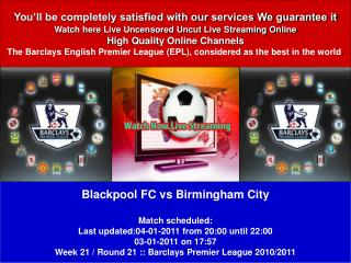 Blackpool FC vs Birmingham City LIVE STREAM ONLINE TV SHOW