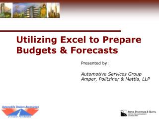 Utilizing Excel to Prepare Budgets & Forecasts