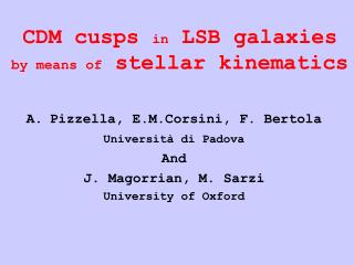CDM cusps in LSB galaxies by means of stellar kinematics
