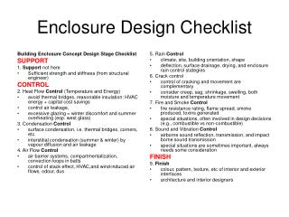 Enclosure Design Checklist