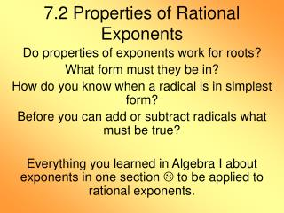 7.2 Properties of Rational Exponents