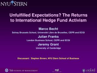 Unfulfilled Expectations? The Returns to International Hedge Fund Activism
