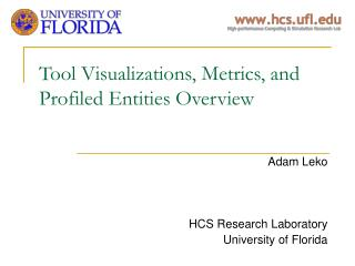 Tool Visualizations, Metrics, and Profiled Entities Overview