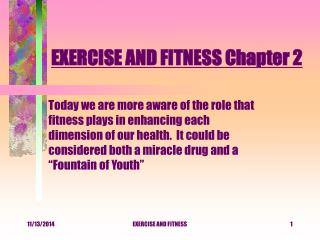 EXERCISE AND FITNESS Chapter 2