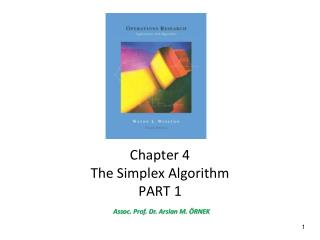 Chapter  4 The Simplex Algorithm PART 1