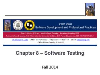 Chapter 8 – Software Testing
