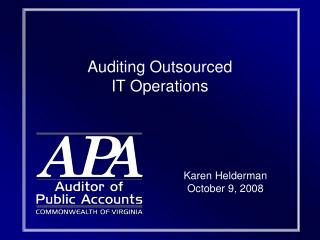 Auditing Outsourced  IT Operations