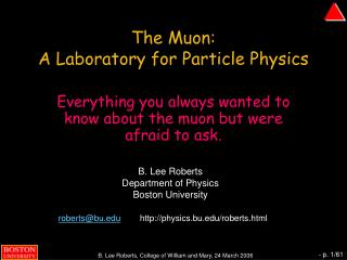 The Muon:  A Laboratory for Particle Physics