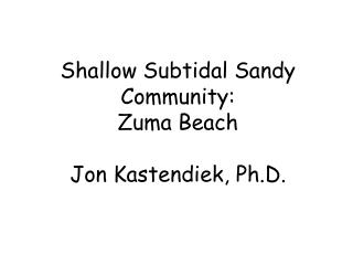 Shallow Subtidal Sandy Community: Zuma Beach Jon Kastendiek, Ph.D.