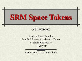 SRM Space Tokens
