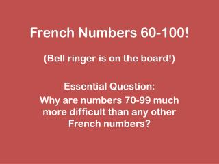 French Numbers 60-100!