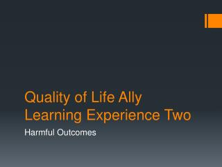Quality of Life Ally Learning Experience Two