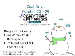 Coat Drive October 20 – 29