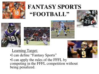 "FANTASY SPORTS  ""FOOTBALL"""