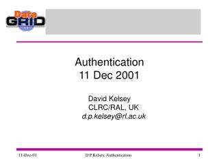 Authentication 11 Dec 2001