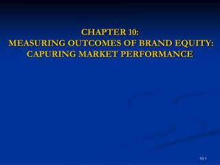 CHAPTER 10:  MEASURING OUTCOMES OF BRAND EQUITY: CAPURING MARKET PERFORMANCE
