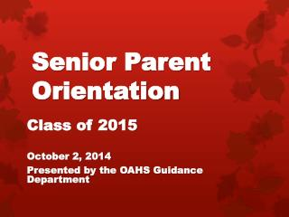 Senior Parent Orientation