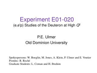 Experiment E01-020 (e,e'p) Studies of the Deuteron at High  Q 2