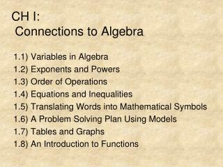 CH I:  Connections to Algebra