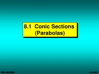 8.1  Conic Sections  (Parabolas)