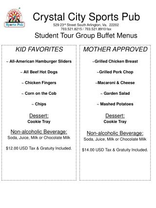 Kids Tour Buffet Menu