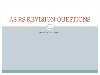 AS RS REVISION QUESTIONS