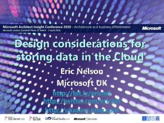 Design considerations for  storing data in the Cloud