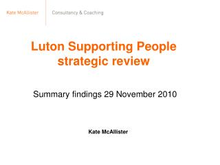 Luton Supporting People strategic review