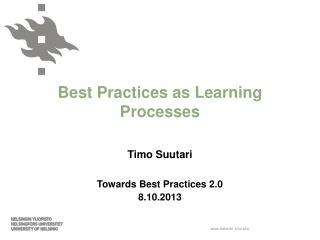 Best Practices as Learning Processes