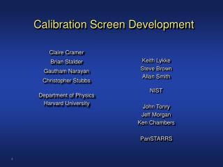 Calibration Screen Development