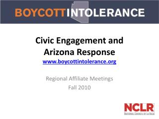 Civic Engagement and  Arizona Response boycottintolerance
