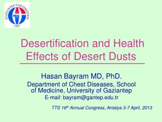 Desertification and  Health Effects of Desert Dusts
