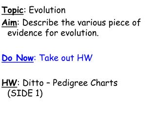 Topic : Evolution Aim : Describe the various piece of evidence for evolution.