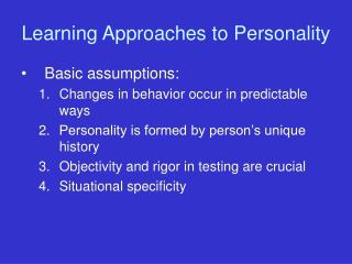 Learning Approaches to Personality