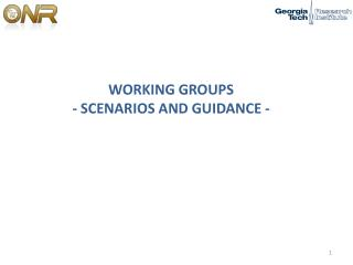 WORKING GROUPS  - SCENARIOS AND GUIDANCE -
