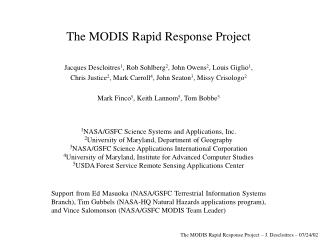 The MODIS Rapid Response Project