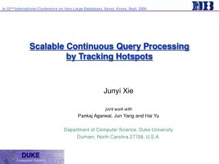 Scalable Continuous Query Processing  by Tracking Hotspots