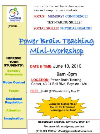 Power Brain Teaching Mini-Workshop