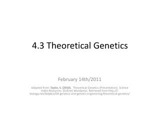 4.3  Theoretical Genetics