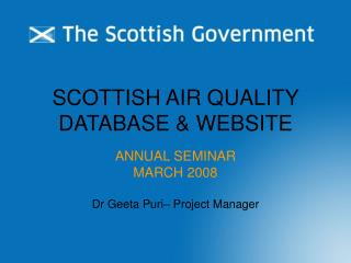 SCOTTISH AIR QUALITY DATABASE & WEBSITE
