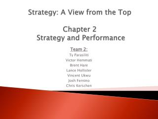 Strategy: A View from the Top  Chapter 2  Strategy and Performance