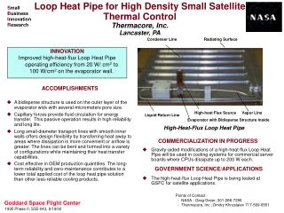 Loop Heat Pipe for High Density Small Satellite Thermal Control Thermacore, Inc. Lancaster, PA