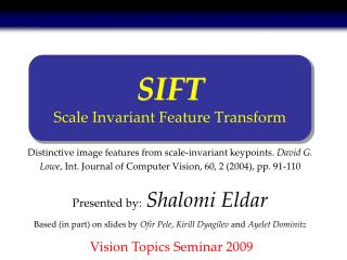 SIFT Scale Invariant Feature Transform