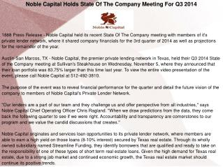 Noble Capital Holds State Of The Company Meeting For Q3 2014