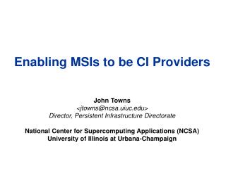 Enabling MSIs to be CI Providers