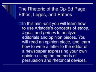 The Rhetoric of the Op-Ed Page: Ethos, Logos, and Pathos