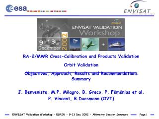 RA-2/MWR Cross-Calibration and Products Validation Orbit Validation