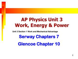 AP Physics Unit  3  Work , Energy & Power
